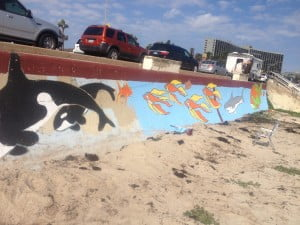 Touched-up section of the Seawall mural in front of the Galveston Island Convention Center